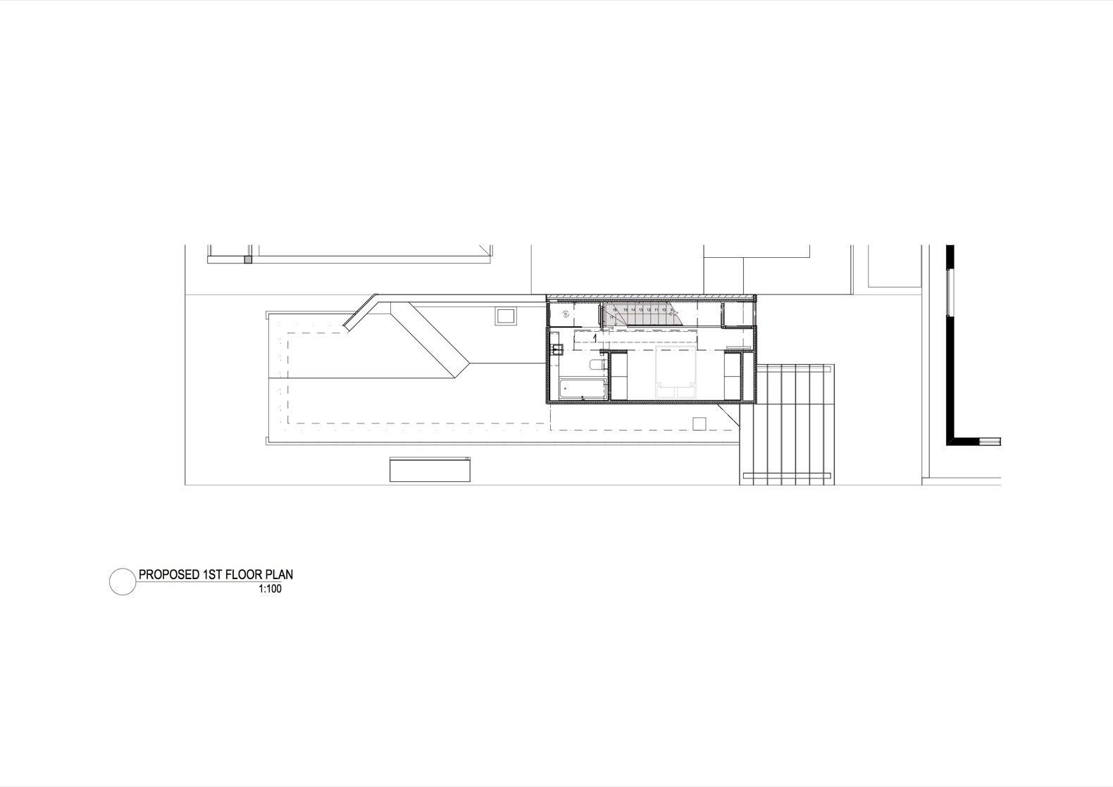The Shadow House first floor plan  Photo 16 of 16 in An Art Deco Dwelling Receives a Sleek, Contemporary Extension