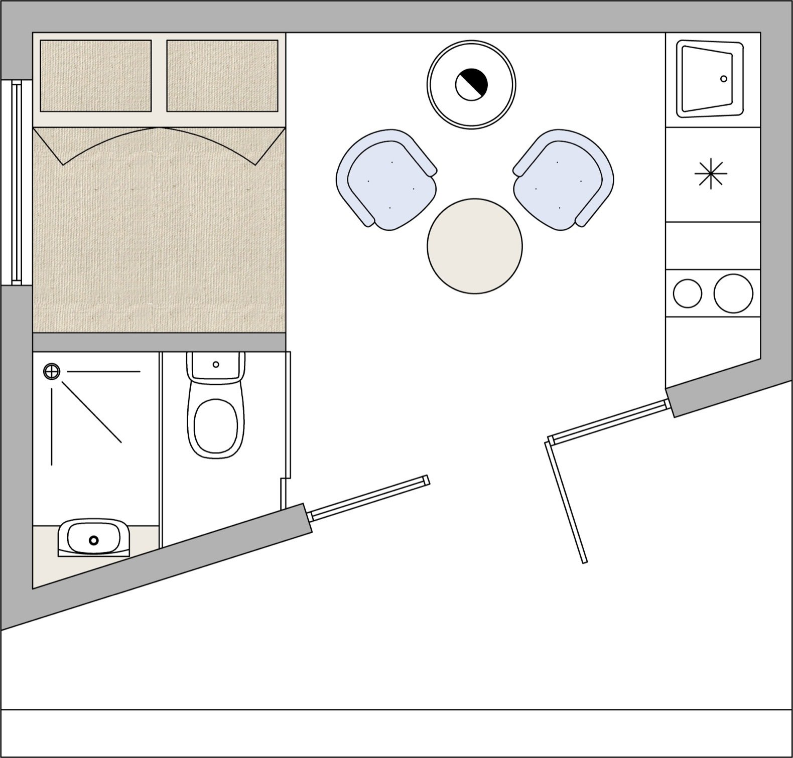 Etno Hut floor plan.   Photo 11 of 11 in Mingle With Mother Nature in This Tiny Prefab Getaway