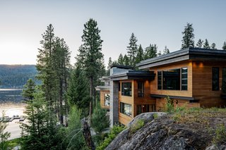 Surrounded by rugged beauty, the home was designed with a faceted exterior optimized for wraparound views unique in each room.