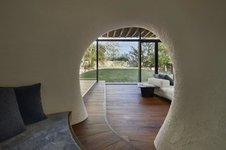 The view from the cave-like nook towards the courtyard.