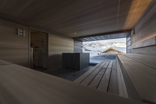 A peek inside the sauna.