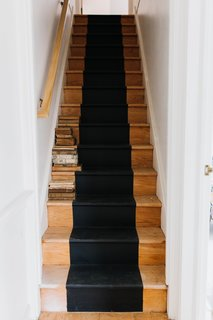 The runner for the stairs leading up to the attic were painted Dark Kettle Black by Valspar.