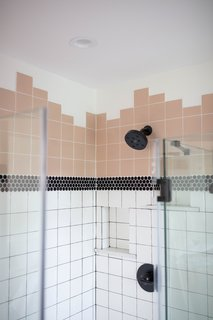 The tile was meticulously stacked, square upon square, to match the way it would have been installed in the 1950s.