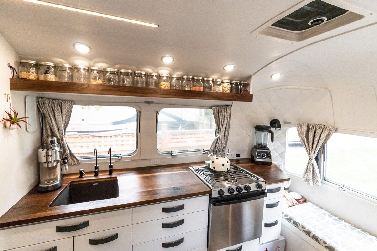 Peanut Airstream Land Yacht kitchen