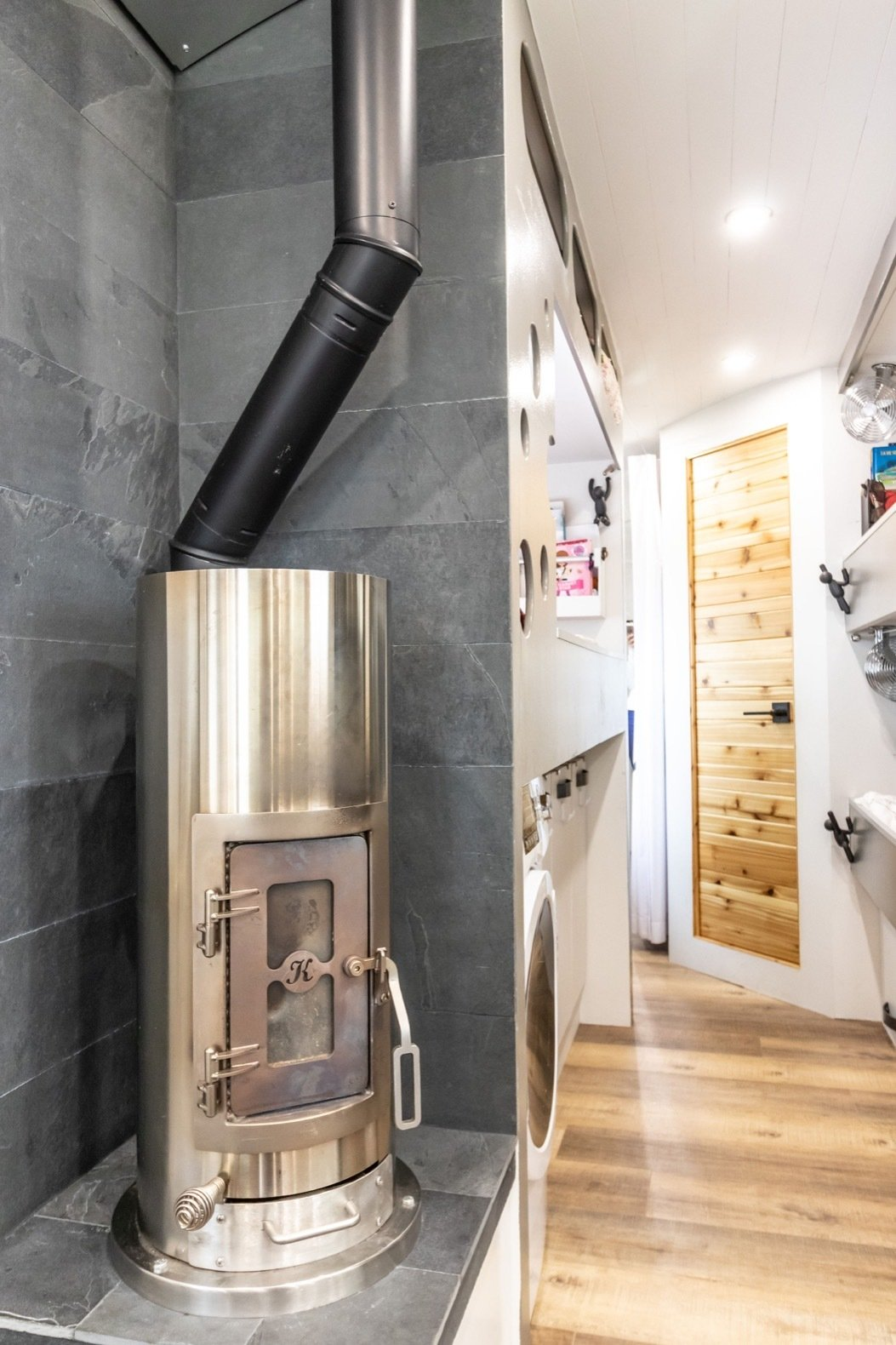 Peanut Airstream Land Yacht wood-burning stove