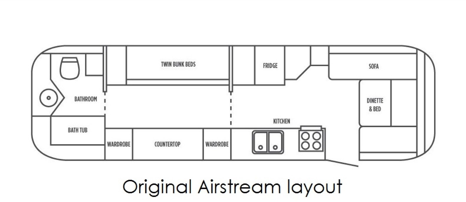 Before: Peanut Airstream Land Yacht floor plan