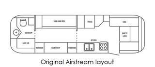 The Airstream's original layout.