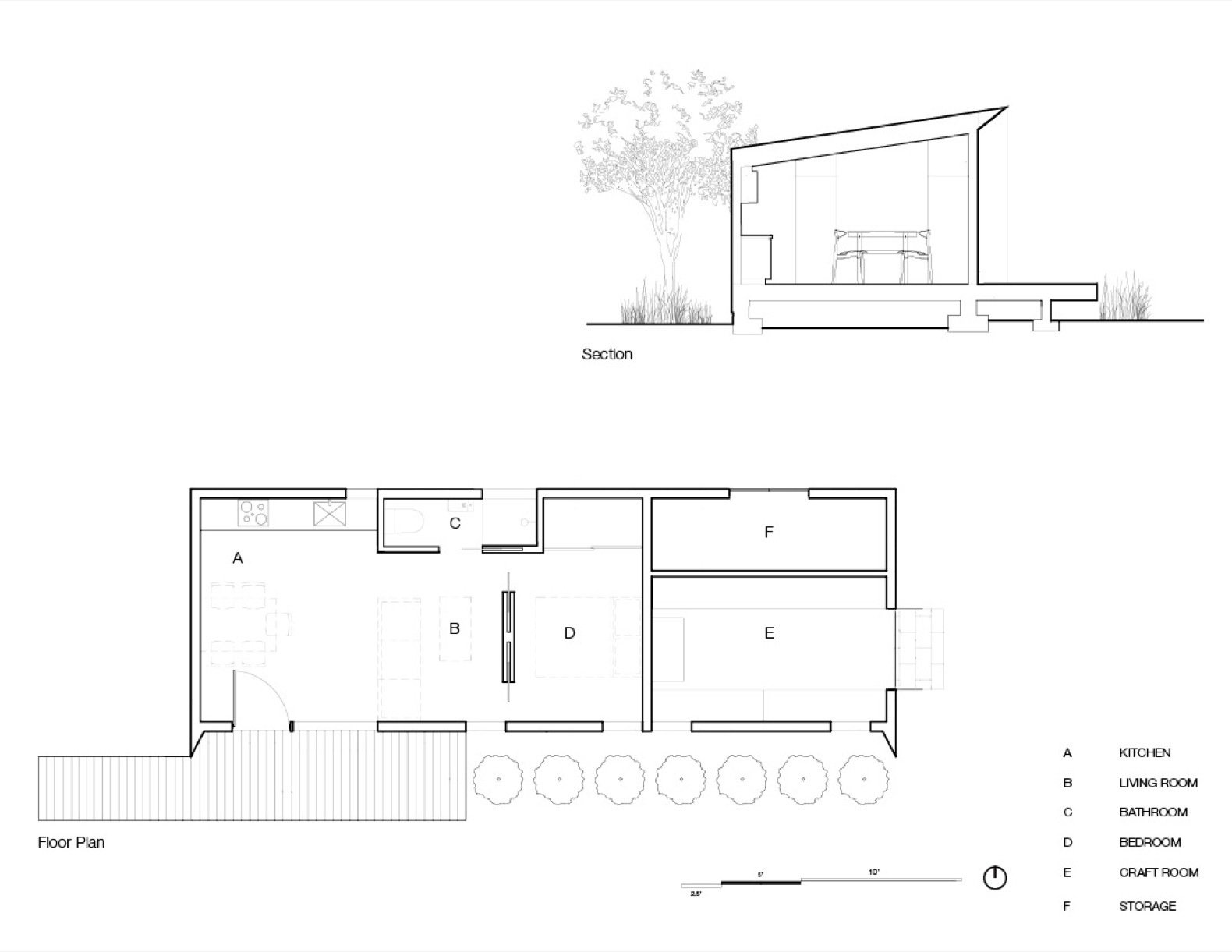 Solar Studio floor plan and section
