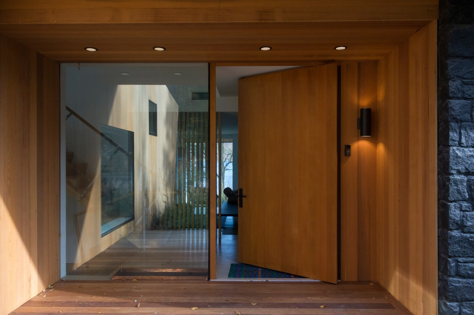 Candlewood Lake House cedar door entrance