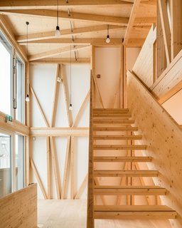The top two floors of the DFAB House are made of prefabricated, load-bearing timber modules.