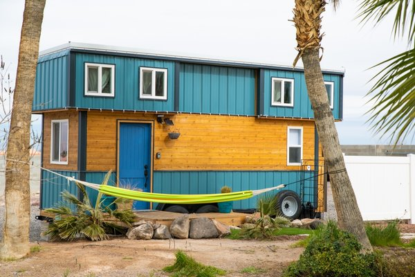 Parked in Henderson, Nevada, just outside of Las Vegas, the Blue Baloo tiny house currently serves as an AirBnB rental.