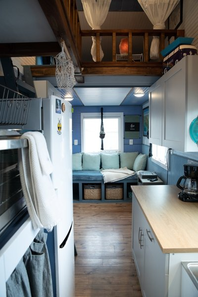 The tiny home operates off the grid and draws energy from solar power.