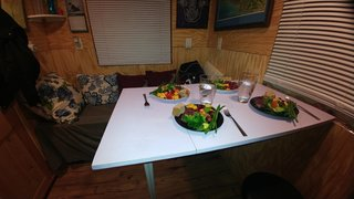 When Jilan and her family were living in the tiny house, they used a fold-out dining table.