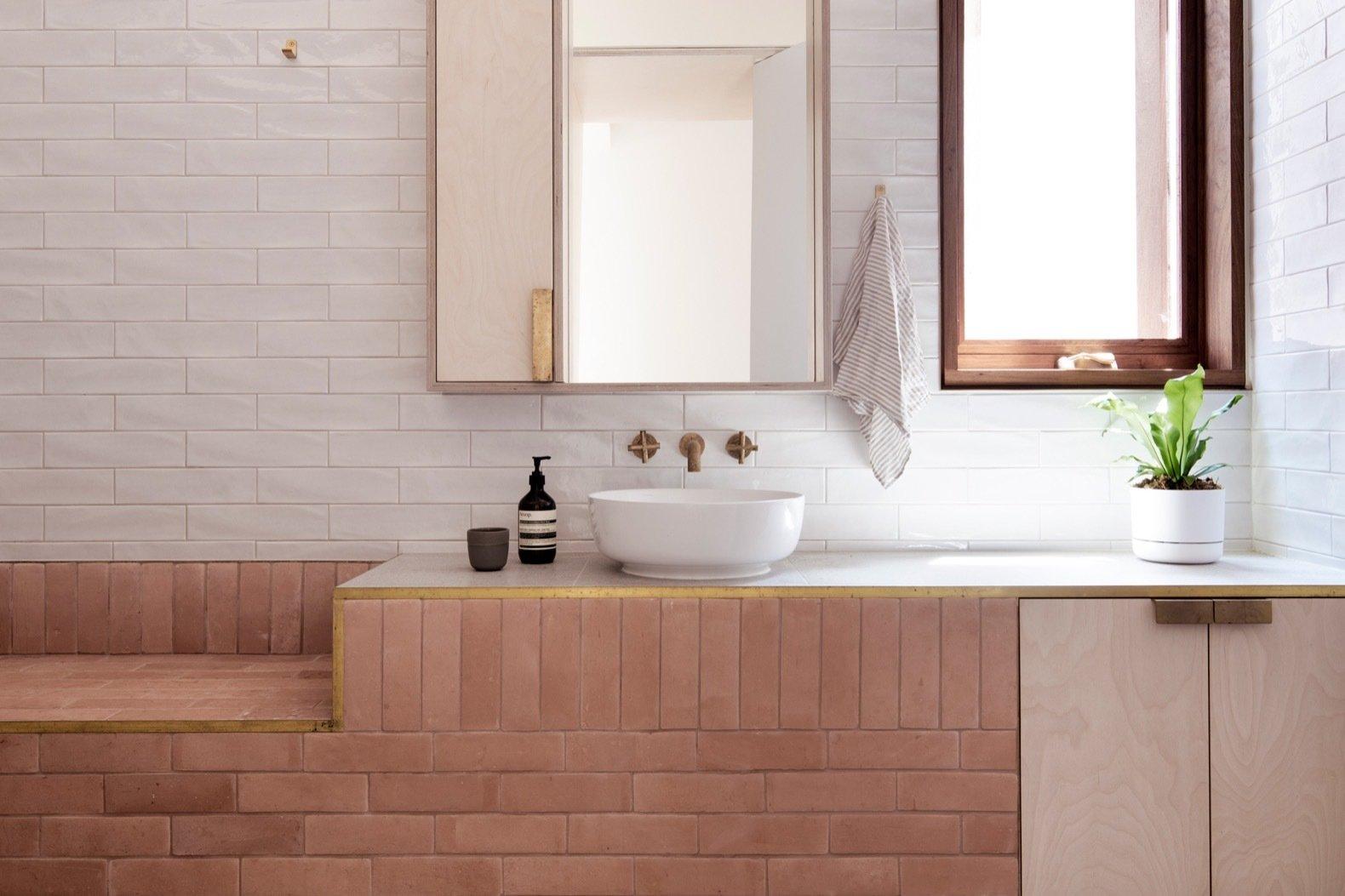 Three Piece House brick bathroom vanity