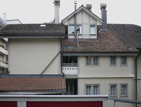 Two cat ladders on different roofs give the cat access to the building's highest room.