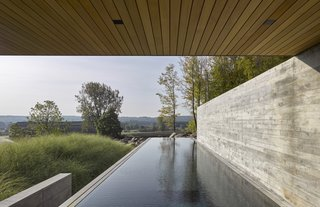 Back into the forest, the Pool House is oriented for panoramic views of the valley floor.
