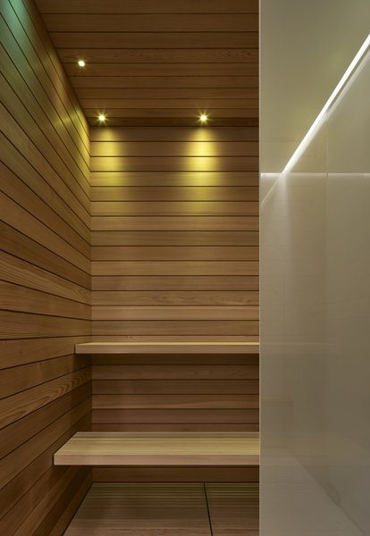 A peek inside the sauna, also lined with cedar.