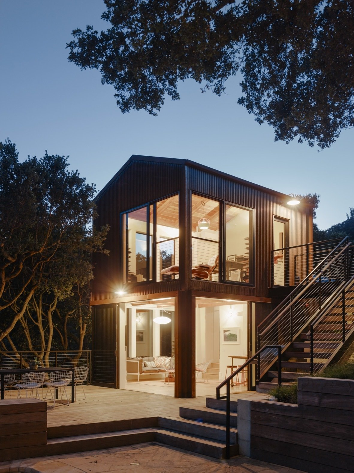 Portola Valley House annex exterior at night