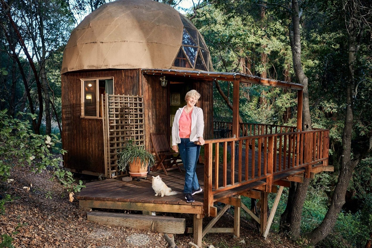 Mushroom Dome Cabin exterior