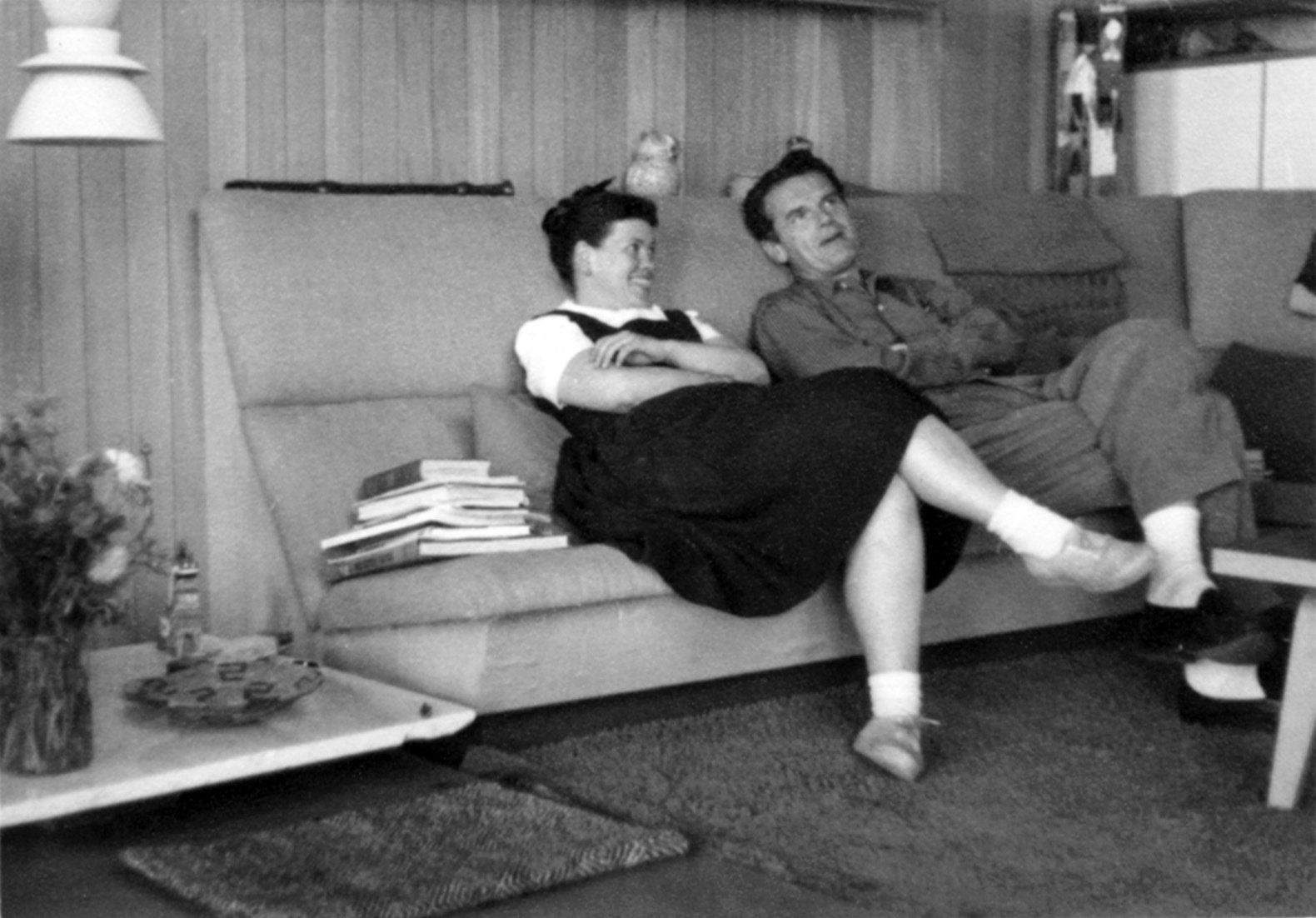 Ray and Charles relaxing in the living room alcove.   Photo 5 of 21 in Getty Unveils New Plan to Conserve the Iconic Eames House