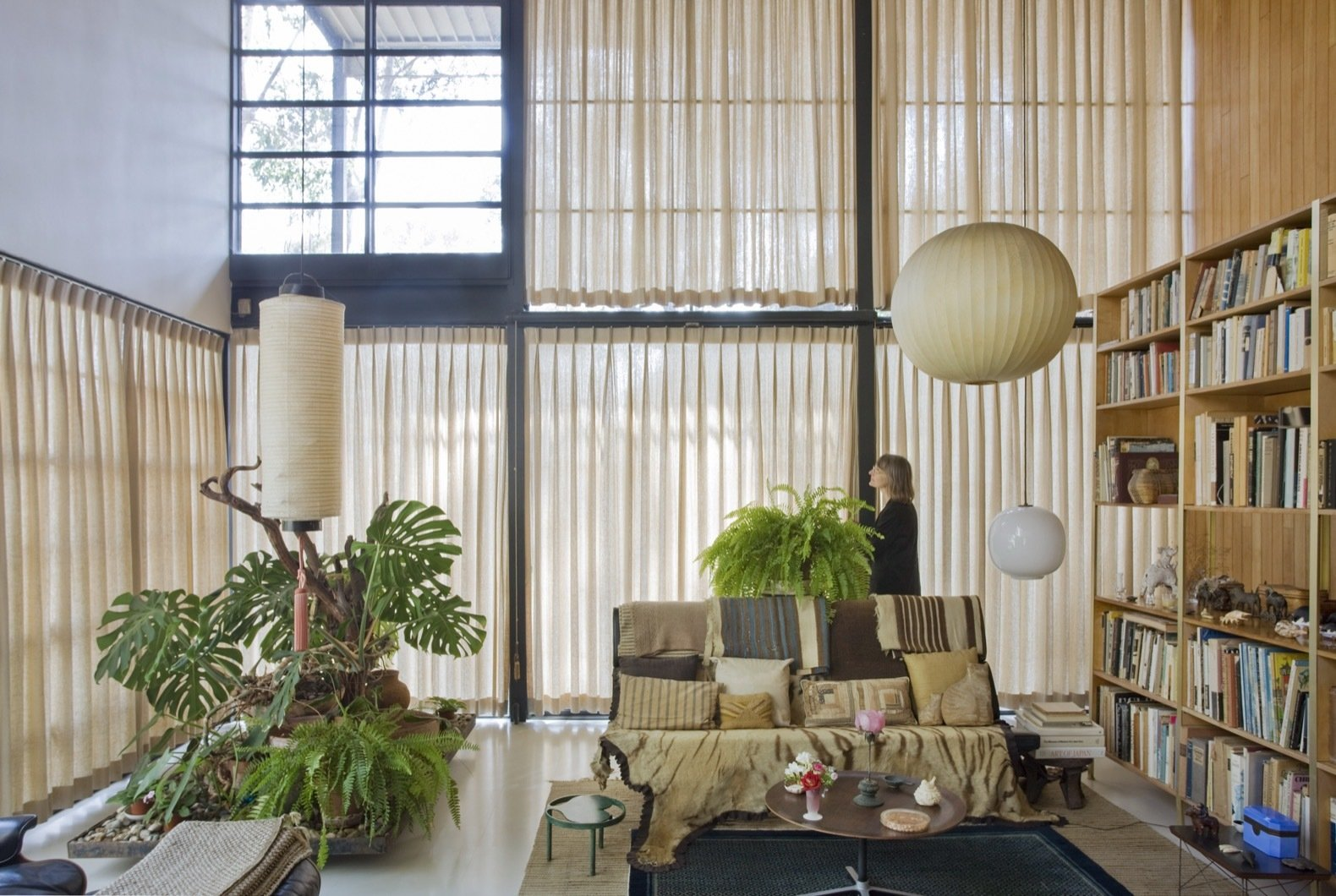 Curtains are drawn to reduce light exposure and damage to the collections and contents.  Photo 11 of 21 in Getty Unveils New Plan to Conserve the Iconic Eames House