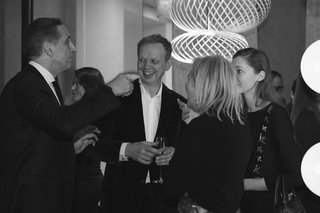 Tom Dixon (middle) with guests at the restaurant's pre-opening event.