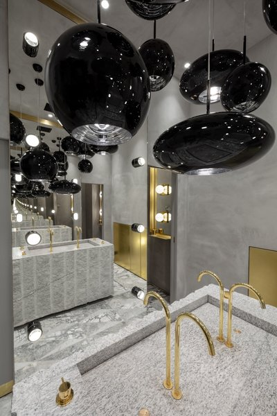 With its high shine and mix of textures, the luxurious bathroom was a big hit with design week guests.