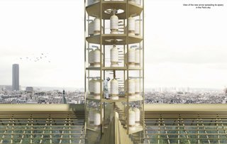 Studio NAB has reimagined the central spire as a glass-walled apiary for the approximately 200,000 honey bees on Notre Dame's roof that survived the fire thanks to the location of their hives on a sacristy roof below the main roof.