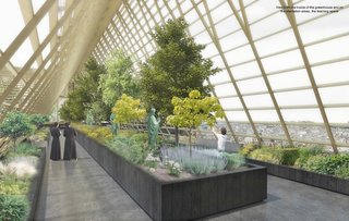 The light and airy greenhouse would feature a gold-colored steel frame and glass panels. In addition to growing plants, it would also serve as an observation deck.
