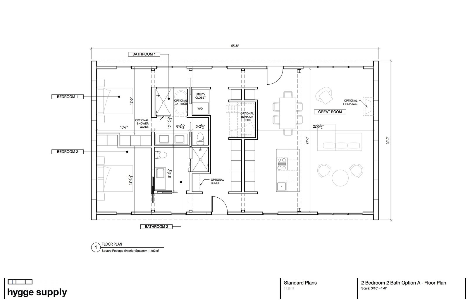 An initial floor plan of the Lake House. Minor adjustments were made to the plan during design and construction.  Photo 20 of 20 in A Kit Home Purveyor Starts by Designing His Own Danish-Inspired Prefab in Michigan