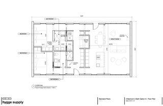 An initial floor plan of the Lake House. Minor adjustments were made to the plan during design and construction.