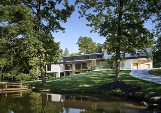 The house draws power from a geothermal well system with wells drilled in the front yard.
