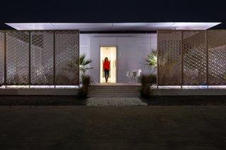 The FutureHAUS seen at night in Dubai.