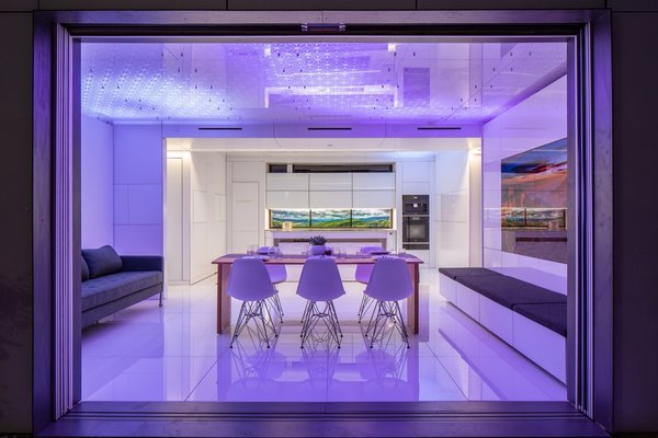 The patterned ceiling LEDs can mimic daylight to sync with occupants' circadian cycles—or they can create mood lighting.