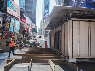 """""""The biggest challenges of building the house in Times Square are the time and size constraints. We have to be fast and efficient in order to construct a fully functioning house in just three days,"""" says faculty lead Joseph Wheeler."""
