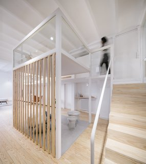 Operable slats in front of the lounge can be opened or closed for privacy.