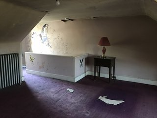 Before: peeling wallpaper and a worn purple carpet made the attic feel dark and dingy, yet Claude and Chris were drawn to its unused potential.