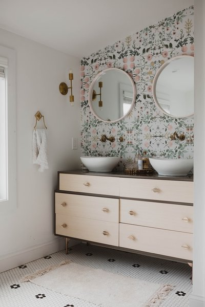 In The Master Bath, A West Elm Dresser Was Converted Into A Double Vanity.