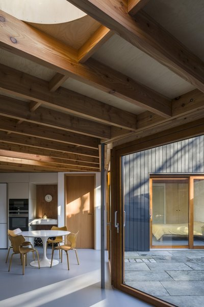 """Having made the decision to have exposed Douglas fir ceiling joists, resolving the geometry of the structure over the main, non-orthogonal living area presented an interesting headache that took a while to figure out, particularly given the need also to accommodate two circular roof lights,"" notes Pile."