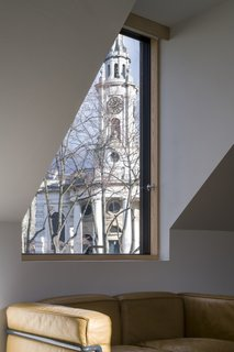The view of the church from the upstairs dormer.