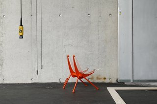 Developed by Prouvé in the 1950s, the armchair Antony has been refreshed in Abloh's twist with a plexiglass shell and bright orange lacquer finish. Limited to 100 pieces.