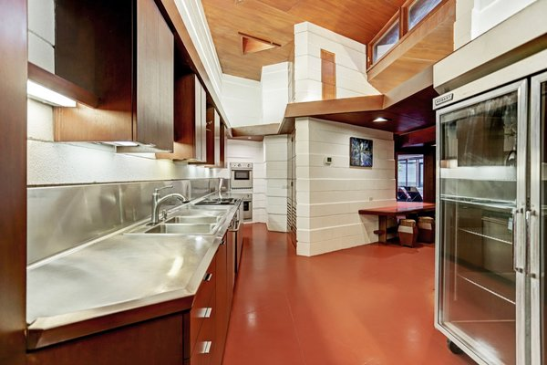 A peek inside the skylit kitchen with clerestory windows.