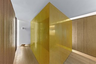 A Giant Golden Cube Hides the Bedroom in This Tiny Jewel Box Apartment