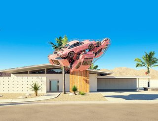 His Labrooy's 911 series, four pink Porsche 911 Carrera RS float as if weightless near a Palm Springs midcentury home.
