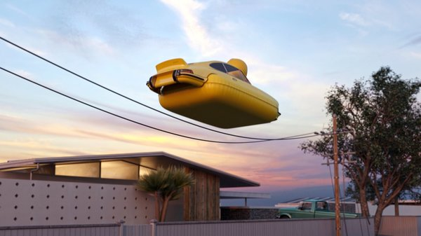 The troublemaking inflatable duck Porsche 911 is seen bouncing around on the telephone wires.