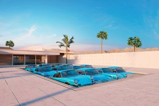 Labrooy's 911 series also includes a shot of a dozen Porsche 911 Carrera RS cooling off in a Palm Springs pool.