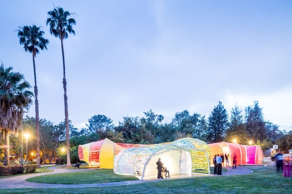 The Second Home Pavilion is located on a grassy ellipse next to the La Brea Tar Pits—the only urban, consistently active Ice Age excavation site in the world.