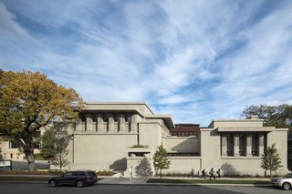 Considered Wright's greatest public building in his Chicago years, the Oak Park Unity Temple (constructed 1906-1909) is a massive structure built entirely of reinforced concrete, which he deliberately left exposed in accordance with the architect's philosophy of organic architecture.