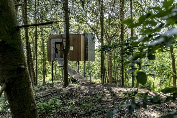 "The first Løvtag cabin (of nine planned) is located in a forest at Als Odde. ""The cabins are located on a small hilltop overlooking a meadow which gives a wonderful view over the top of the forest and lets the sunshine in during the afternoon,"" says architect Sigurd Larsen."