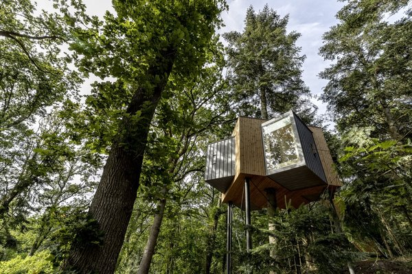 The ultimate escape for forest bathing, Denmark's Løvtag is a tree house hotel that features three cabins that embrace Scandinavian minimalism. With tree trunks intersecting the interior, large windows, and a rooftop deck, these treehouses promise to make you feel at one with nature.